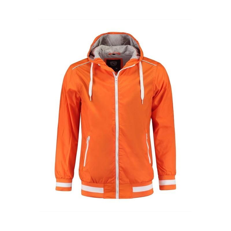 Herenkleding oranje zomerjas met zakken en capuchon