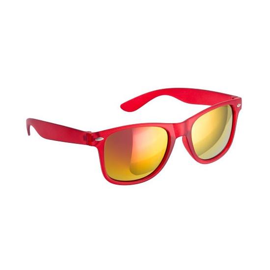 Hippe zonnebril rood met spiegelglazen