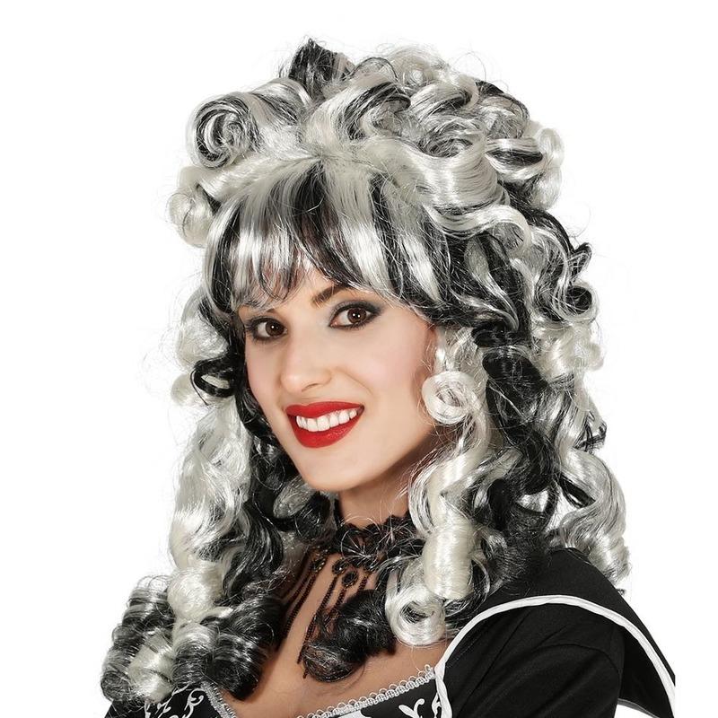 Horror zwarte weduwe/markiezin verkleed pruik zwart/wit dames