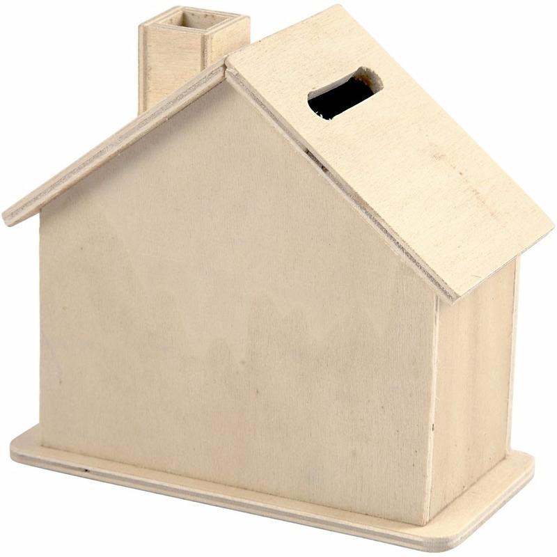 Housewarming cadeau houten spaarpot huisje