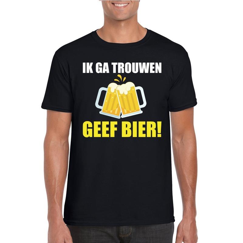 Ik ga trouwen geef bier t-shirt zwart heren