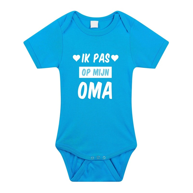 Ik pas op mijn oma cadeau baby rompertje blauw voor jongens
