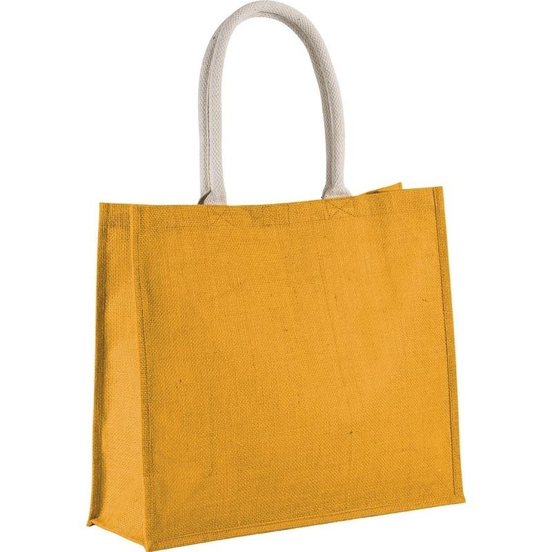 Jute gele shopper/boodschappen tas 42 cm