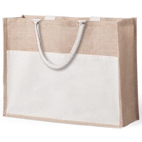 Jute/katoenen naturel shopper/boodschappen tas 44,5 cm