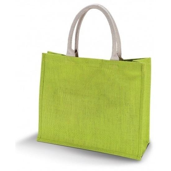 Jute lime groene shopper/boodschappen tas 42 cm