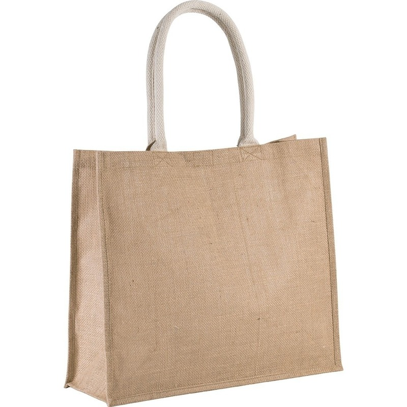 Jute naturel/beige shopper/boodschappen tas 42 cm