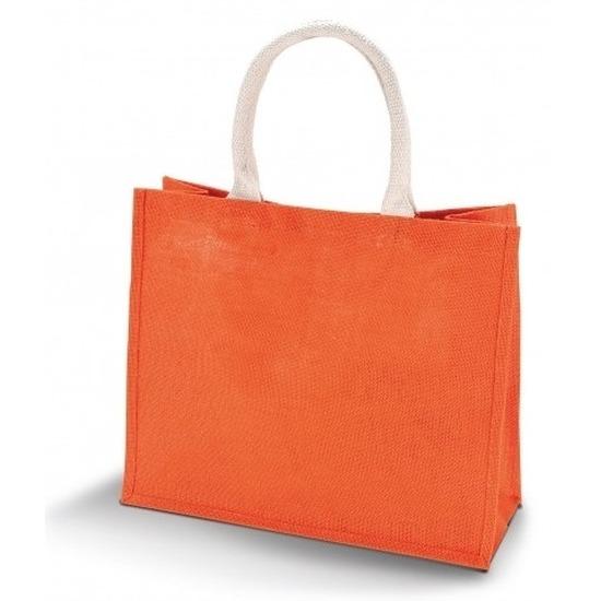 Jute oranje shopper/boodschappen tas 42 cm
