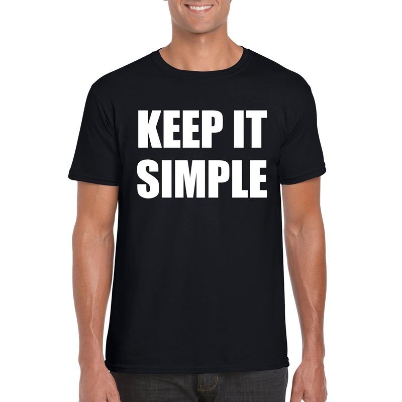 Keep it simple tekst t-shirt zwart heren