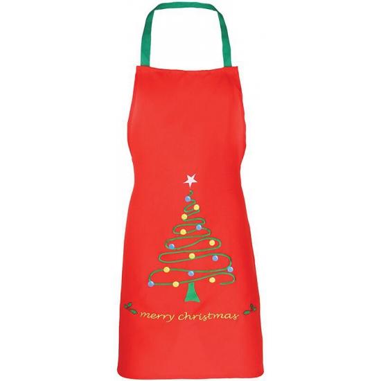 Kerst knutsel en kook schort rood