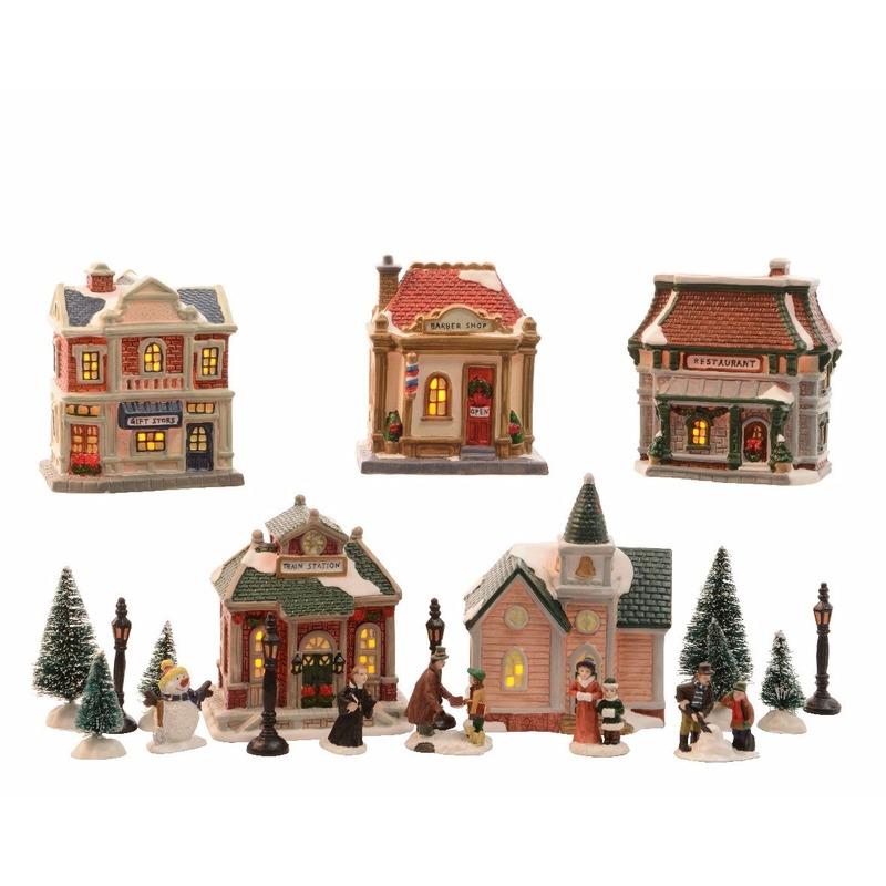 Kerst landschap kerstdorp winkeltjes met licht