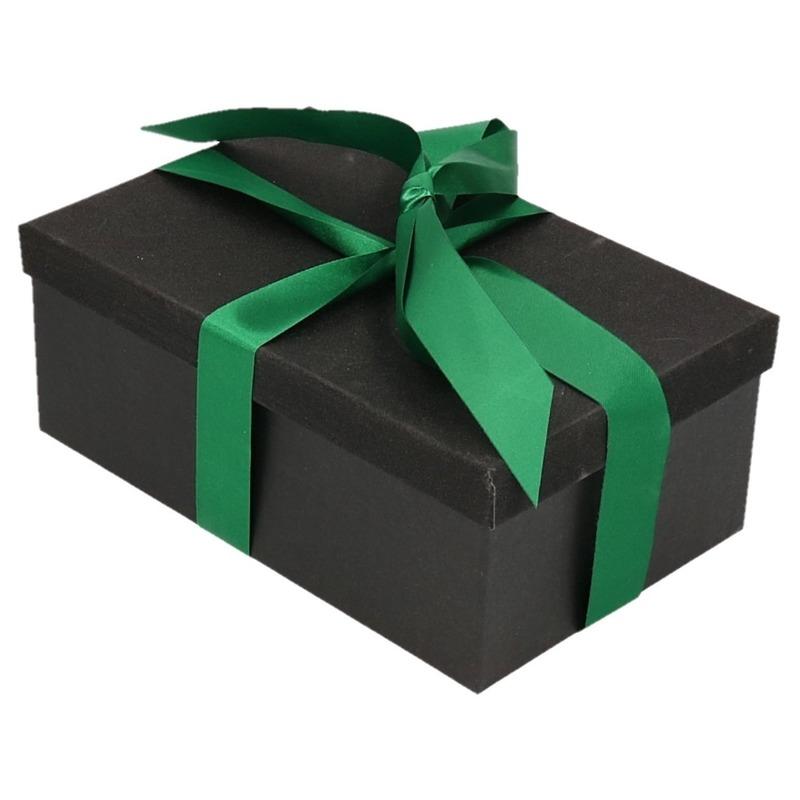 Kerstboom cadeautje zwart glitter doosje 24 cm