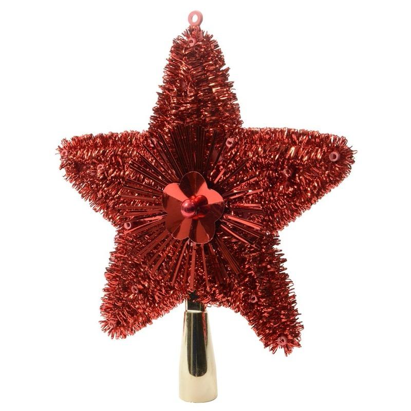 Kerstboom piek glitters rood 23 cm