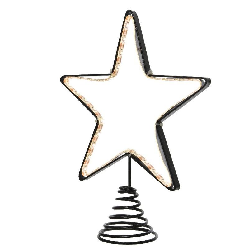 Kerstboom piek met LED ster verlichting 22 cm