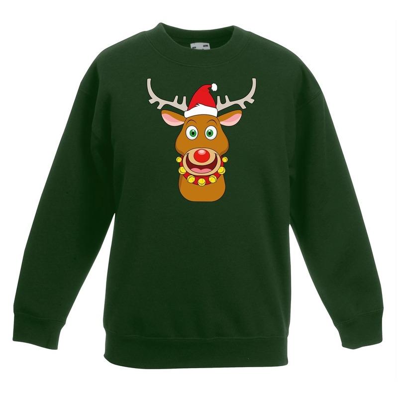 Kersttrui rendier Rudolf met rode kerstmuts groen kinderen