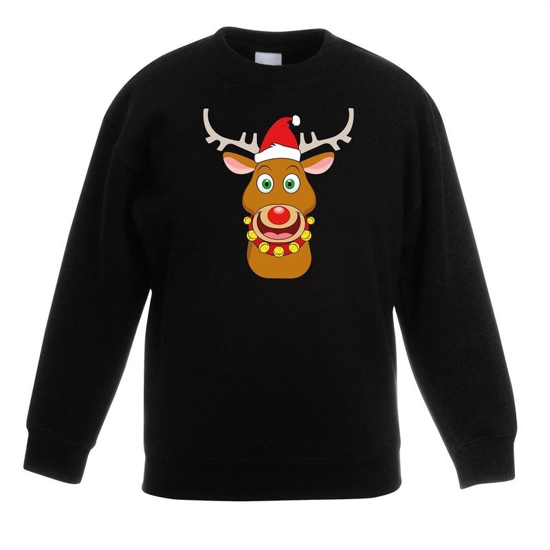 Kersttrui rendier Rudolf met rode kerstmuts zwart kinderen
