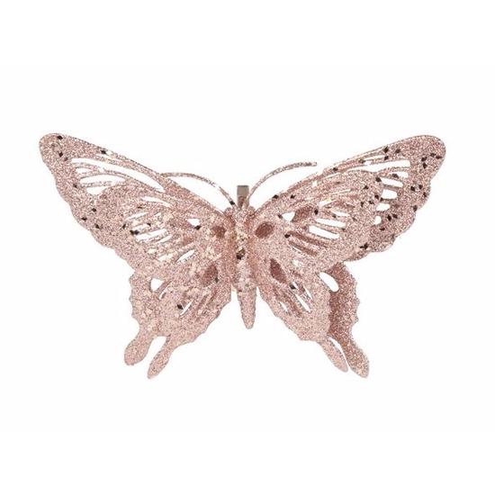 Kerstversiering vlinder roze-glitter 15 cm