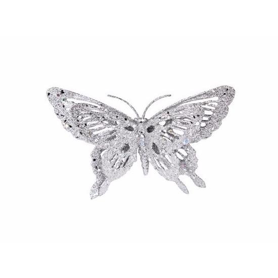 Kerstversiering vlinder zilver-glitter 15 cm