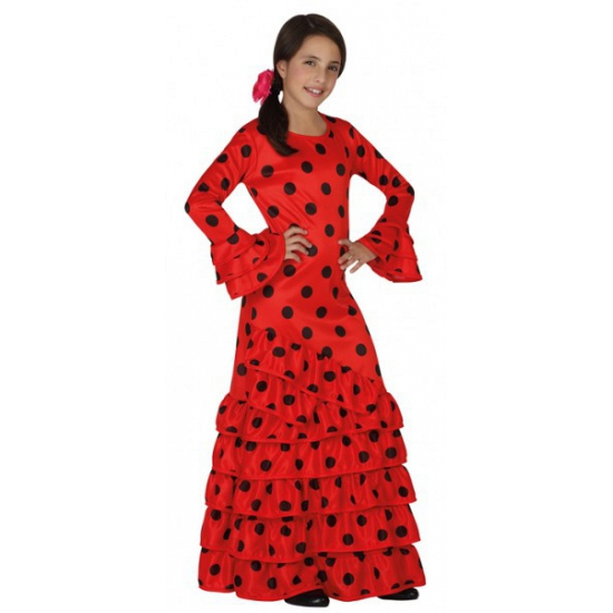 Kinderjurk Flamenco danseres rood
