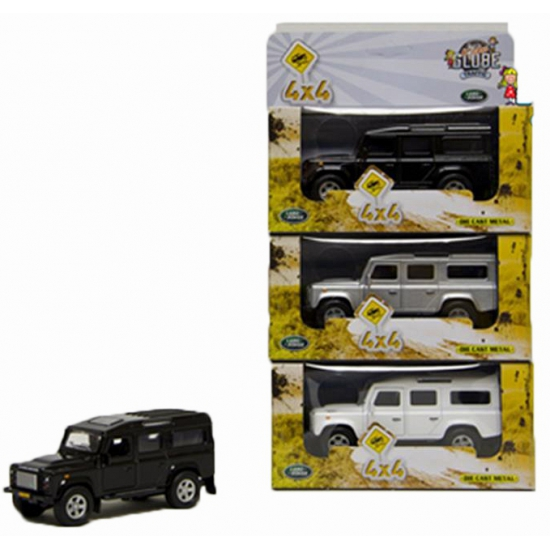 Kinderspeelgoed Land Rover auto zilver 20 cm