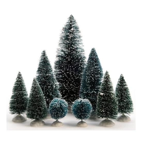 Kleine decoratie kerstboompjes 9x
