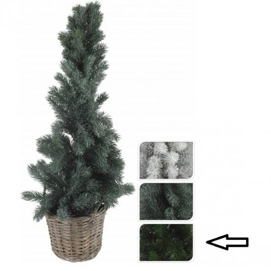Kleine kerstboom donkergroen in mand 80 cm