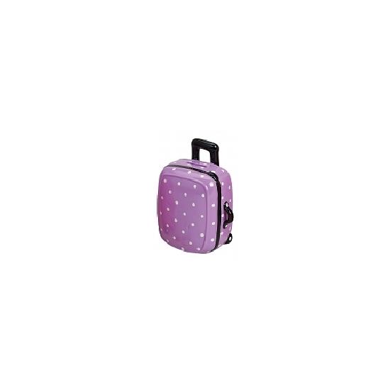 Koffer spaarpot paars met wit