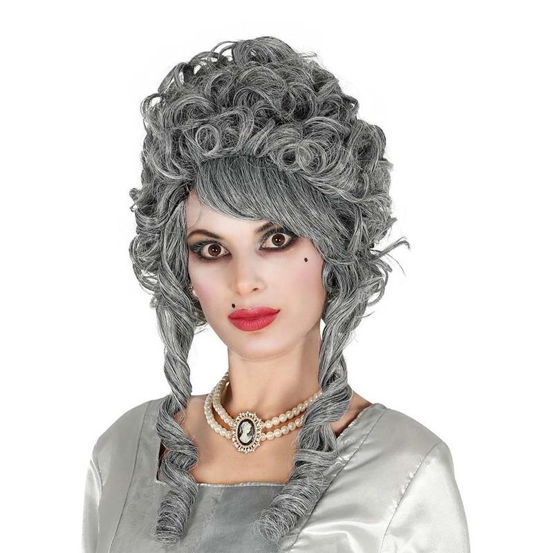 Markiezin verkleed pruik grijs voor dames