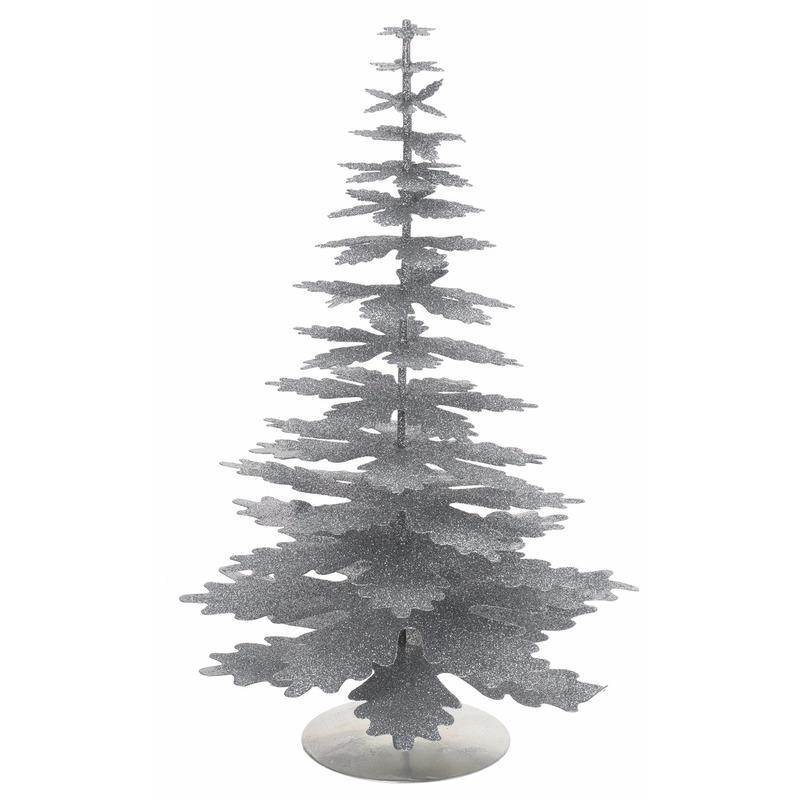 Mini kunstboom kerst zilver glitter