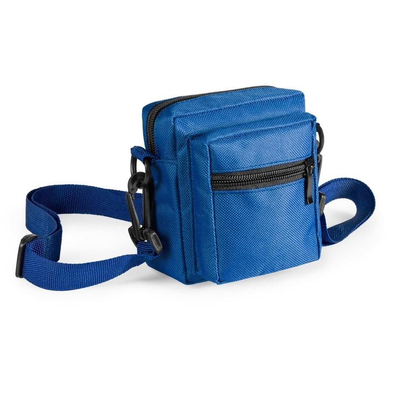 Mini schoudertasje blauw met rits 11 cm