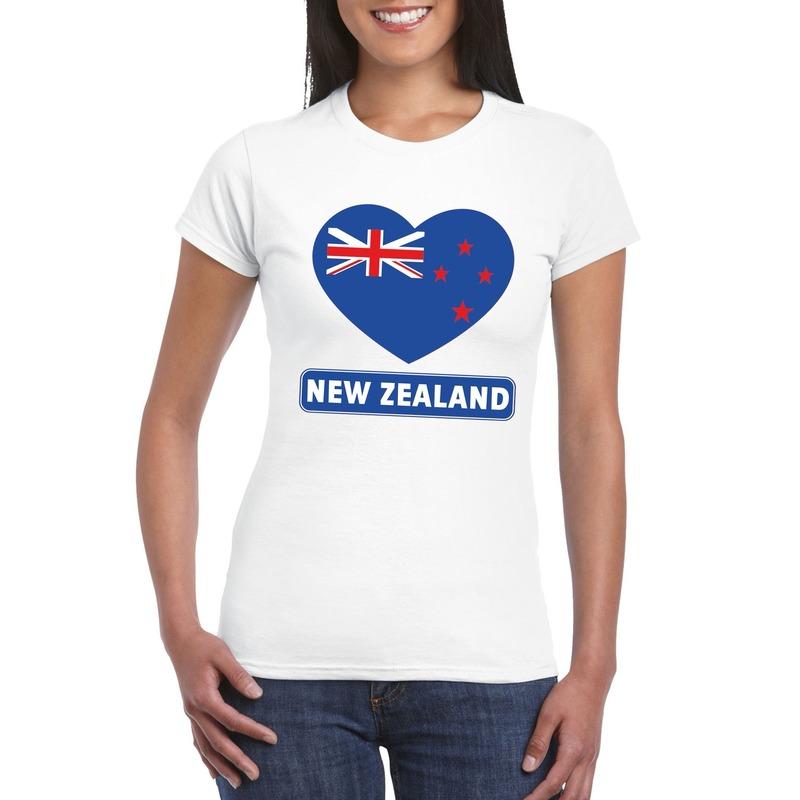 Nieuw Zeelandse vlag in hartje shirt wit dames