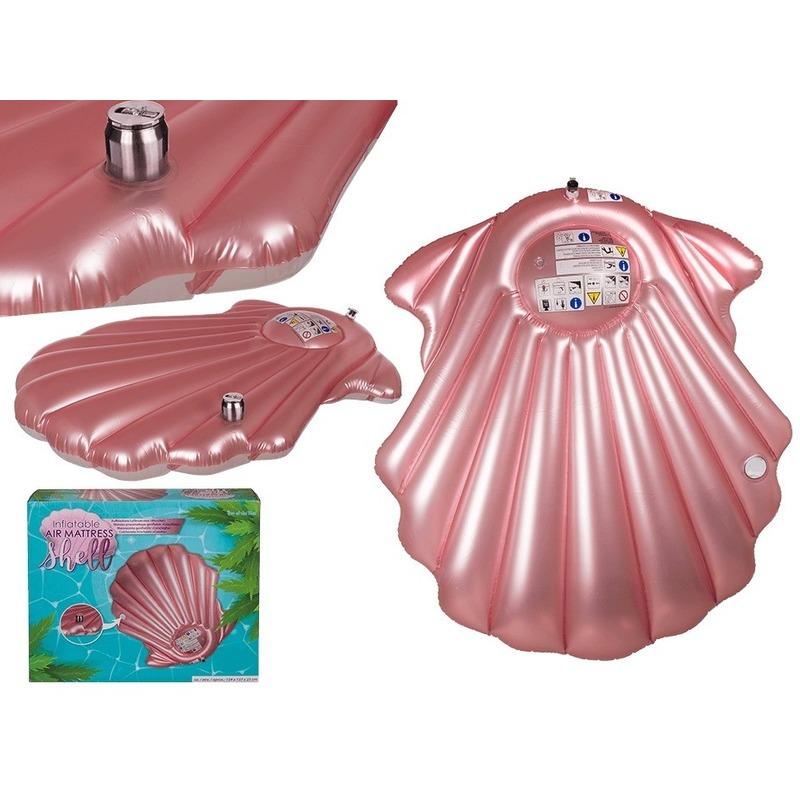 Opblaasbaar luchtbed roze schelp 163 x 151 cm