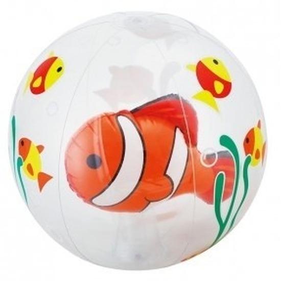 Opblaasbare strandbal transparant met vissen 61 cm