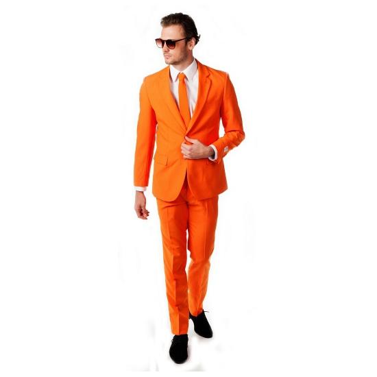 Oranje business suit met stropdas voor mannen
