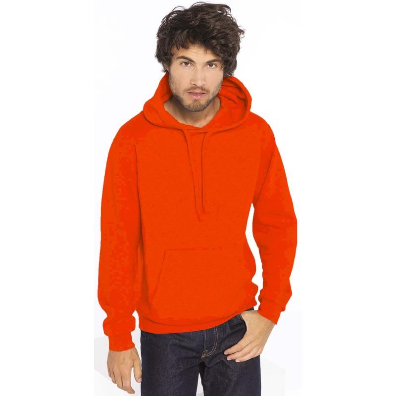 Oranje sweater/trui hoodie voor heren