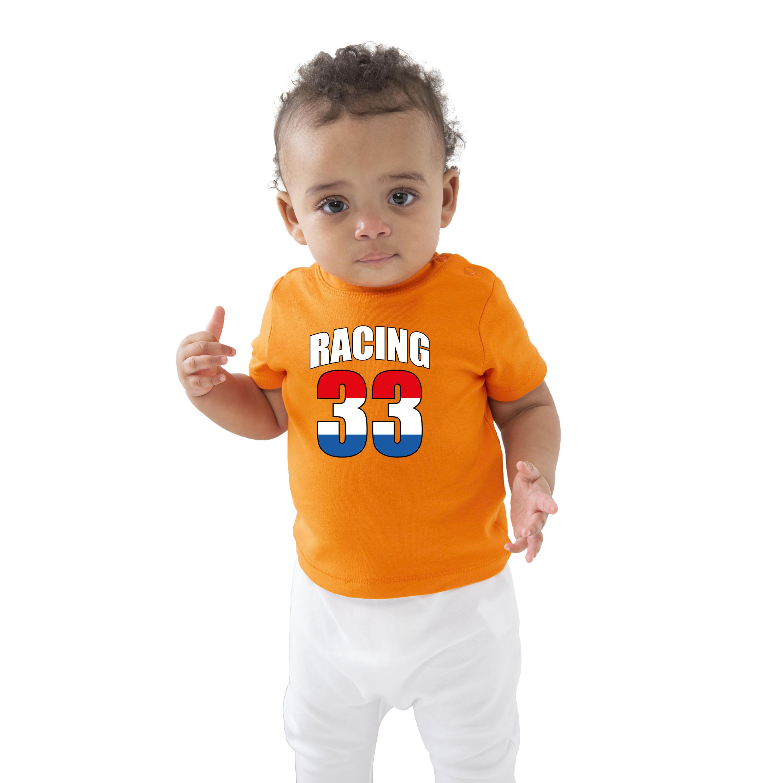 Oranje t-shirt racing 33 coureur supporter-race supporter voor baby-peuter