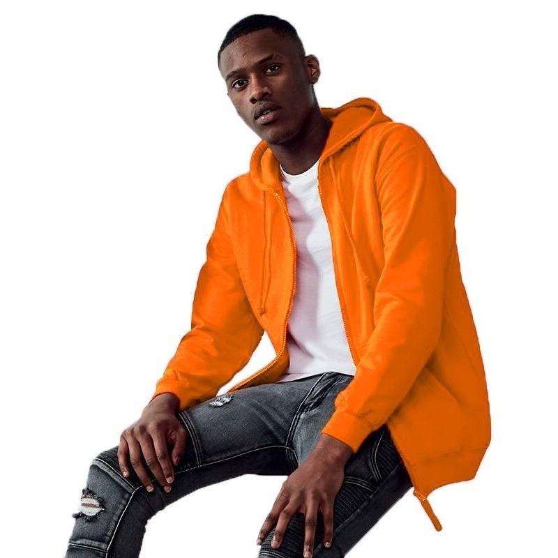 Oranje vest/jasje met capuchon voor heren
