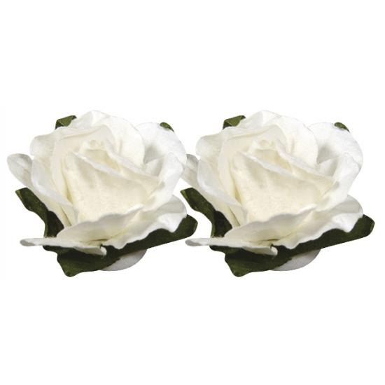 Papieren decoratie bloemen wit 1,5 cm
