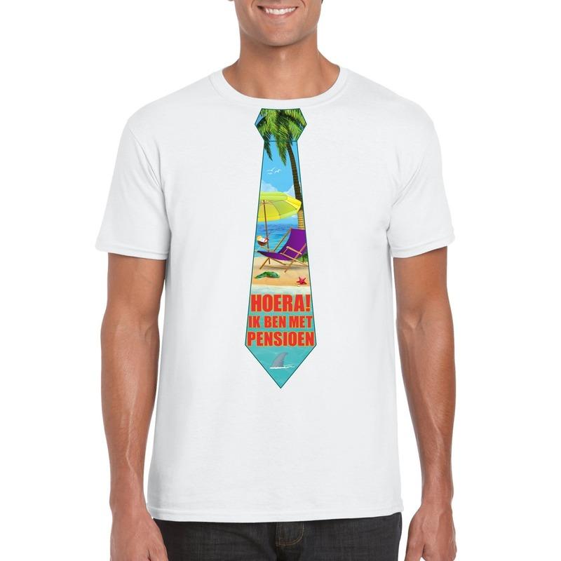 Pensioen t-shirt wit heren met stropdas