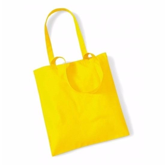 Promotie tasje geel katoen 42 x 38 cm
