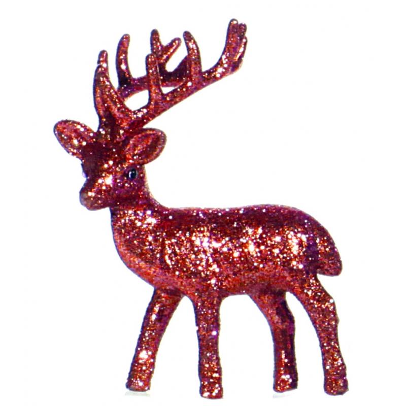 Raamdecoratie rendier rood 10 cm