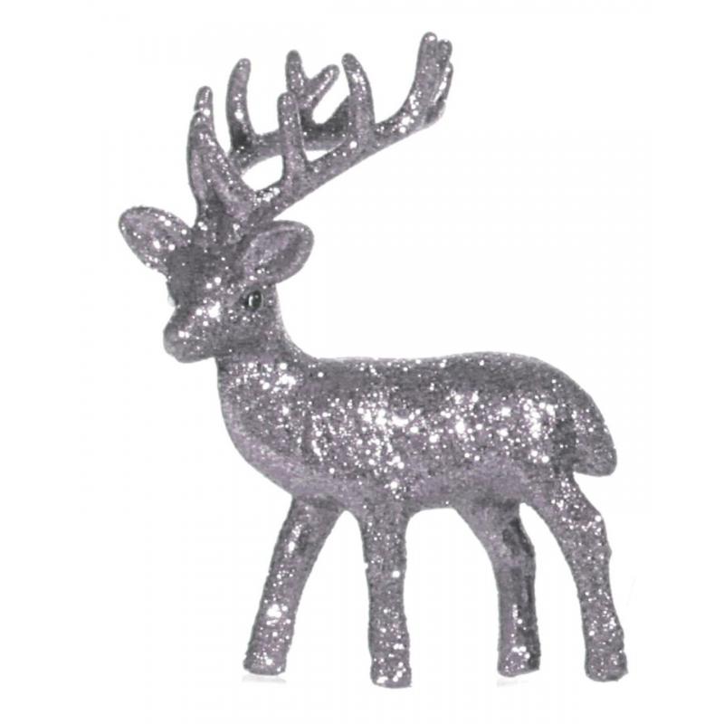 Raamdecoratie rendier zilver 10 cm