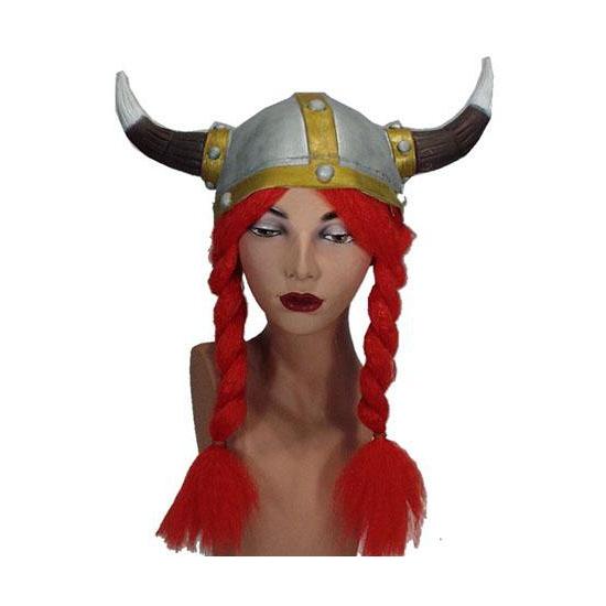 Rode vlechten met viking helm