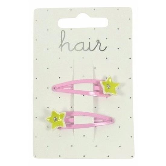 Roze haarspeldjes met gele sterren 2 stuks