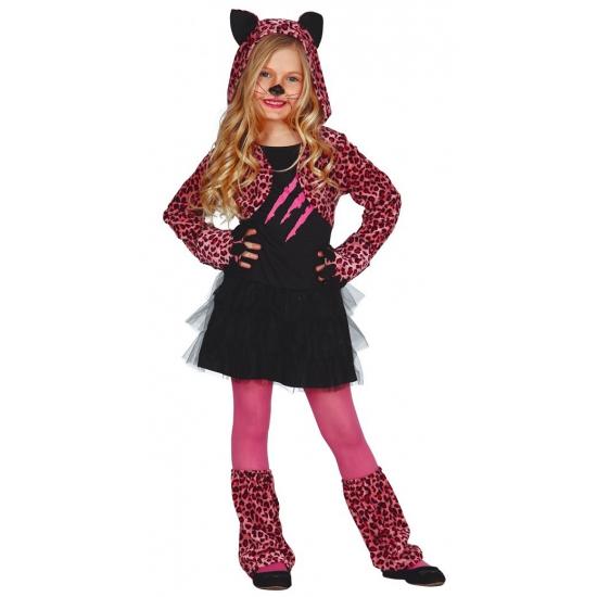 Roze katten verkleedoutfit voor kinderen