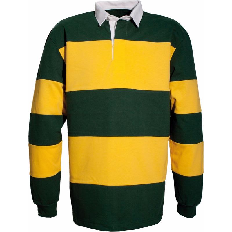 Rugbyshirts in het groen met geel