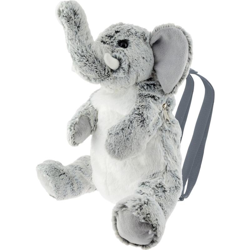 Safaridieren rugzakken/rugtassen knuffels olifant grijs 25 cm