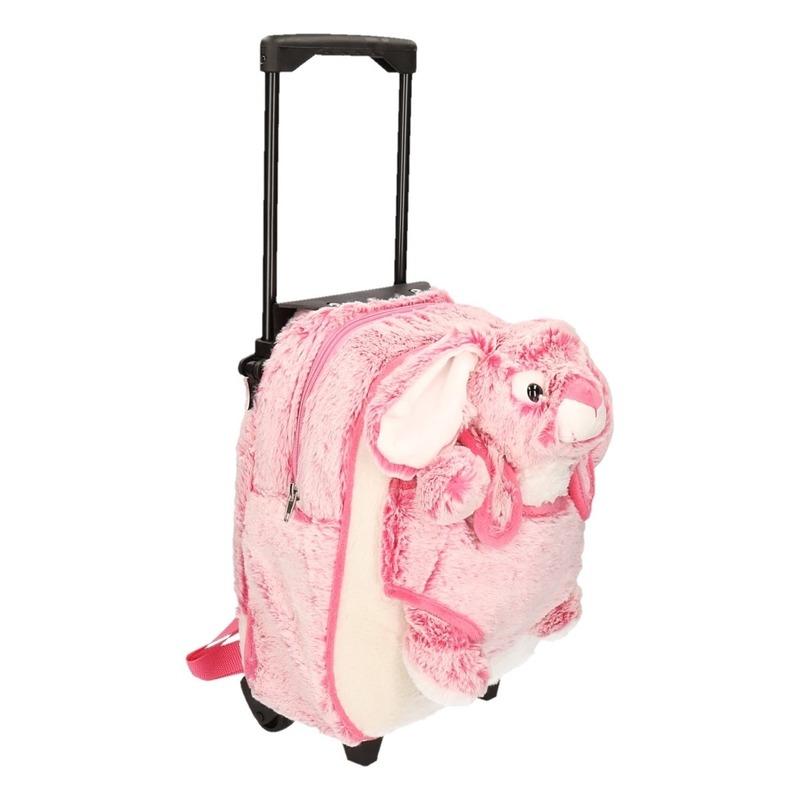 Schoolreisje koffer pluche konijn-haas roze