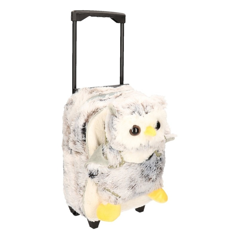 Schoolreisje koffer pluche uil 35 cm