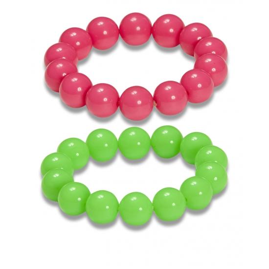 Set van neon parel armbanden