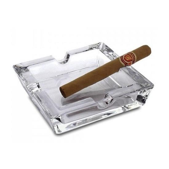 Sigaren asbak glas vierkant 15 x 15 cm.